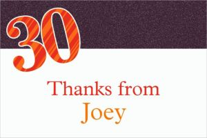 Custom Big Celebration 30 Thank You Notes