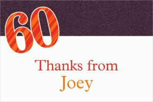 Custom Big Celebration 60 Thank You Notes