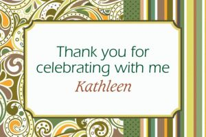 Custom Sage Paisley Thank You Notes