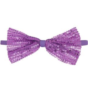 Child Purple Sequin Bow Elastic Headband