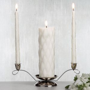 Ivory Quilted Unity Candle Set 3pc
