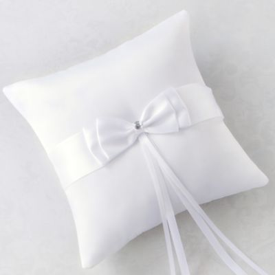 White Bow Ring Bearer Pillow