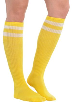 Yellow Stripe Athletic Knee-High Socks