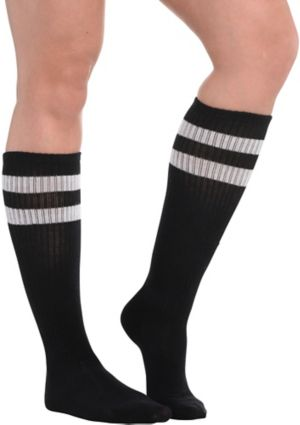 Black Stripe Athletic Knee-High Socks