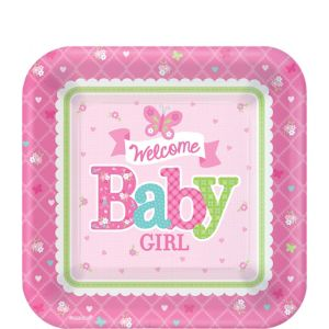 Welcome Baby Girl Baby Shower Dessert Plates 8ct