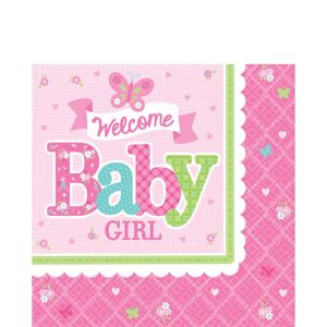 Welcome Baby Girl Baby Shower Lunch Napkins 16ct