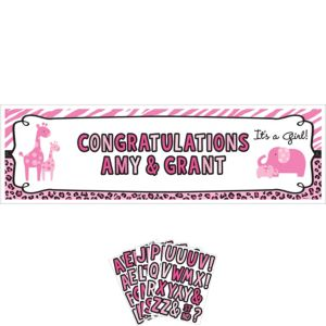 Giant Personalized Pink Safari Girl Baby Shower Banner Kit