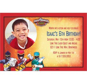 Custom Power Rangers Dino Charge Photo Invitations