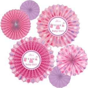It's a Girl Baby Shower Paper Fan Decorations 6ct