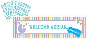 Giant Bright Carriage Baby Shower Personalized Banner Kit