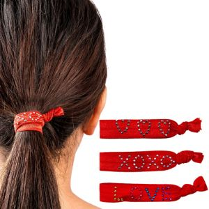 Sweet Heart Red Ribbon Hair Ties 3ct