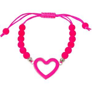 Hot Pink Sliding Knot Open Heart Bracelet