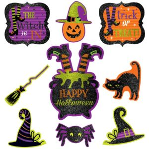 Glitter Witch Cutouts 9ct - Witch's Crew