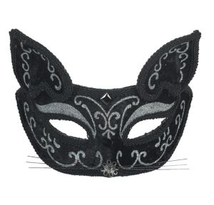 Black Scroll Cat Mask