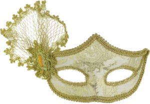 Gold Brocade Parisian Masquerade Mask