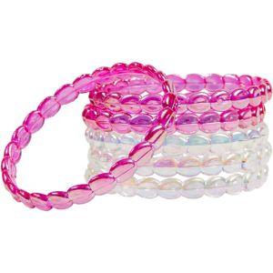 Child Bright Pink & Clear Iridescent Bangle Bracelets 6ct
