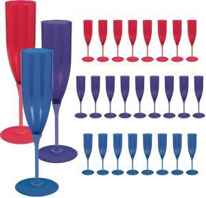 Purple, Red & Blue Plastic Champagne Flutes 25ct