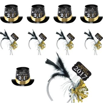 2017 New Year's Top Hats & Feather Headbands 10ct