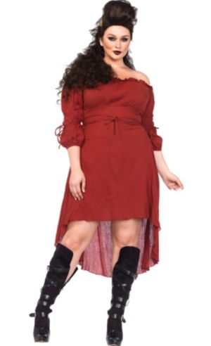 Burgundy Peasant Dress Plus Size