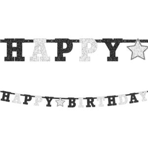 Prismatic Black & White Happy Birthday Letter Banner