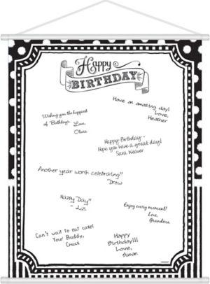Black & White Birthday Sign-In Sheet