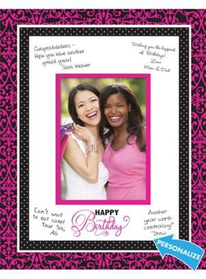 Black & Pink Birthday Autograph Photo Mat