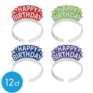 Glitter Rainbow Happy Birthday Tiara Headbands 12ct
