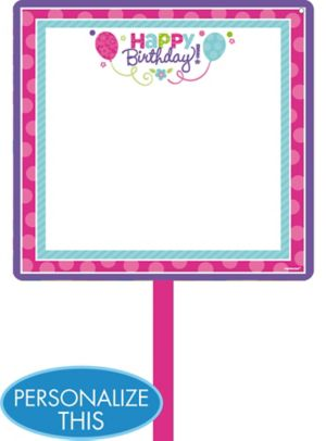 Purple & Teal Pastel Birthday Blank Yard Sign