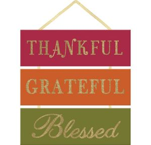 Glitter Thankful Grateful Blessed Stacked Sign