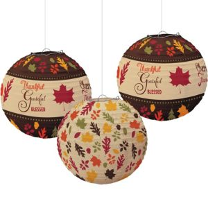 Autumn Traditions Fall Paper Lanterns 3ct