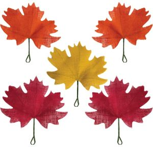 Burlap Fall Maple Leaves 5ct
