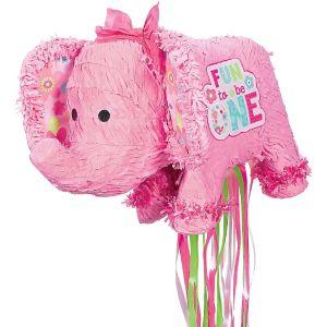 Pull String 1st Birthday Pink Elephant Pinata