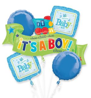 Boy Welcome Baby Balloon Bouquet 5pc - Welcome Little One
