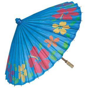 Hibiscus Print Caribbean Blue Parasol