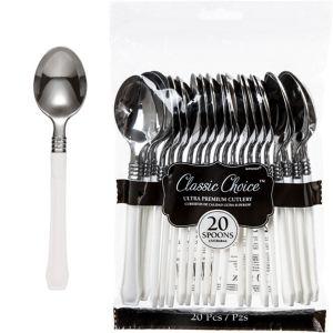 Classic Silver & White Premium Plastic Spoons 20ct