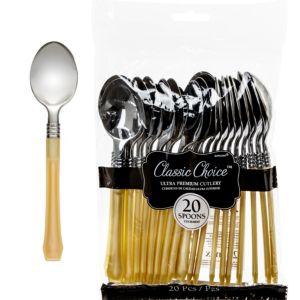 Classic Silver & Gold Premium Plastic Spoons 20ct