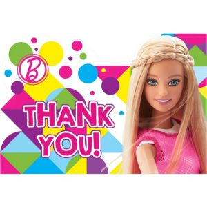 Barbie Thank You Notes 8ct
