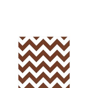 Chocolate Brown Chevron Beverage Napkins 16ct