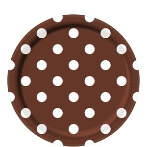 Chocolate Brown Polka Dot Lunch Plates 8ct