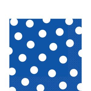 Royal Blue Polka Dot Lunch Napkins 16ct