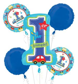 Primer Cumpleanos Balloon Bouquet 5pc - All Aboard