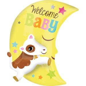 Welcome Baby Balloon - 3D Cow & Moon