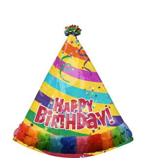 Happy Birthday Balloon - Prismatic Party Hat