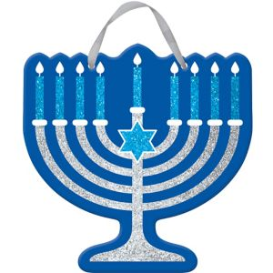 Glitter Menorah Sign