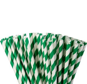 Festive Green Striped Paper Straws 80ct