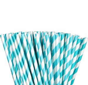 Robin's Egg Blue Striped Paper Straws 80ct