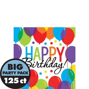 Rainbow Balloon Bash Birthday Beverage Napkins 125ct