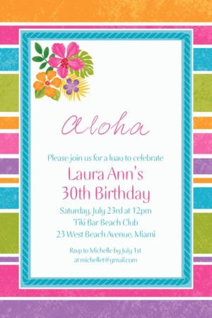 Custom Sophisticated Hibiscus Invitations