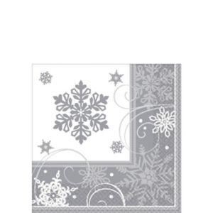 Sparkling Snowflake Beverage Napkins 16ct