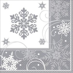 Sparkling Snowflake Dinner Napkins 16ct